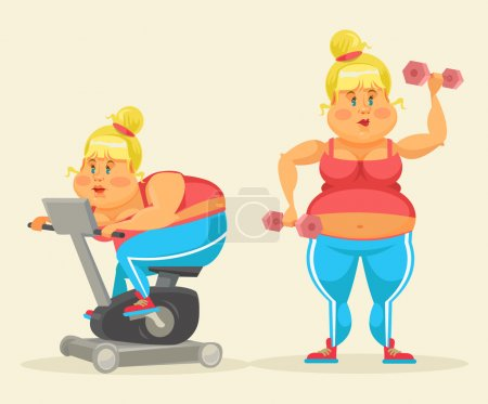 Woman exercising. Fat woman in gym. Fat woman do sport. Vector flat cartoon illustration set