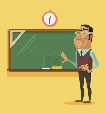 Illustration pour Professeur intelligent debout près du tableau noir. Illustration vectorielle de dessin animé plat - image libre de droit