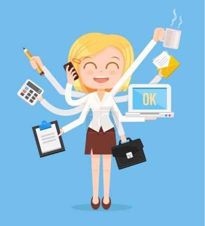 Illustration pour Joyeux personnage de femme de bureau. Travail acharné et multitâche. Illustration vectorielle de dessin animé plat - image libre de droit