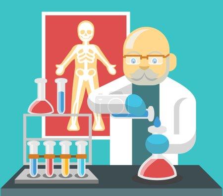 Chemistry scientist color flat vector illustration