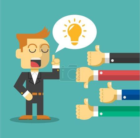 Businessman feedback. Like and dislike. Vector flat illustration