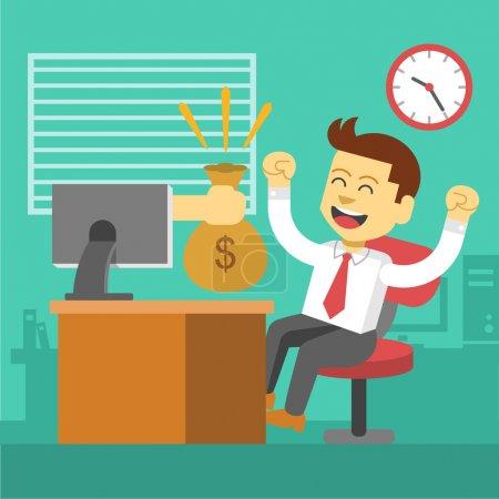 Illustration pour Un homme d'affaires gagne. Une affaire en ligne. Illustration vectorielle plate - image libre de droit