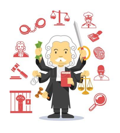 Illustration pour Ensemble d'icônes d'illustration plat vectoriel juge - image libre de droit