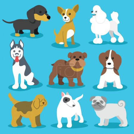 Vector Dogs Flat Icons Set Isolated on Blue Background