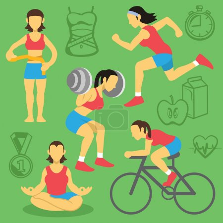 Vector women fitness and bodybuilding flat icons set.