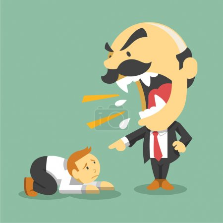 Boss screams on worker. Vector flat illustration