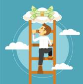 Businessman and money Vector flat illustration