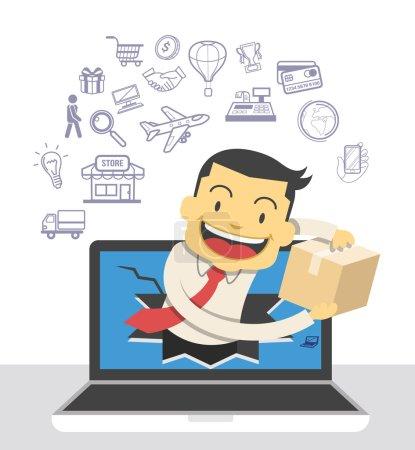 Illustration pour Commerce électronique. Illustration vectorielle et icônes - image libre de droit