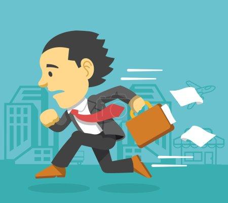 Businessman runs. Vector flat illustration...