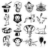 Circus carnival outline black icon set