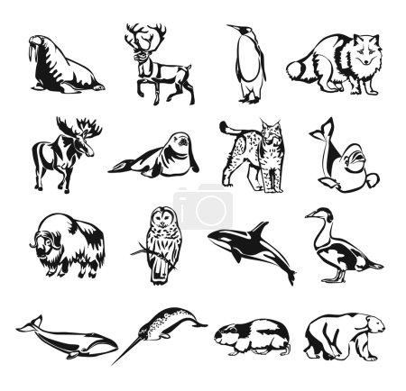 Illustration pour Ensemble d'icônes de contour de doodle noir vecteur animaux nordiques - image libre de droit