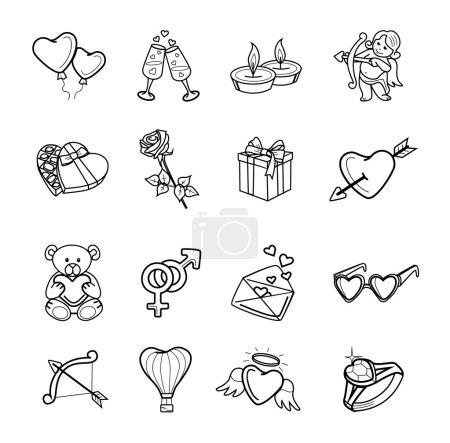 Illustration pour Icon set de Valentin vector noir - image libre de droit