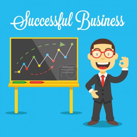 Vector happy smiling businessman and chart board illustration