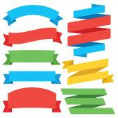 Vector set of colorful flat ribbons Creative graphic design Isolated on white background