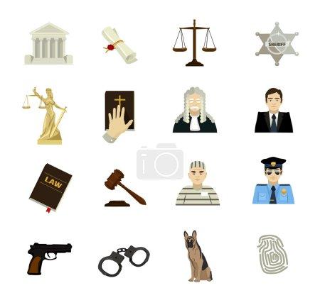 Illustration pour Ensemble plat d'icône vectorielle de loi - image libre de droit