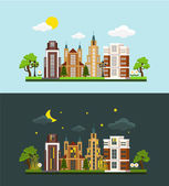 Vector megalopolis flat illustration