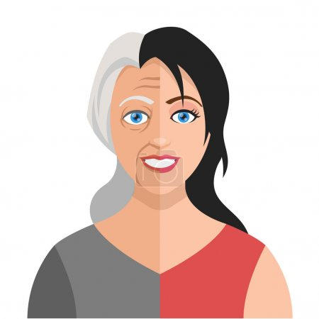 Vector old young woman flat illustration