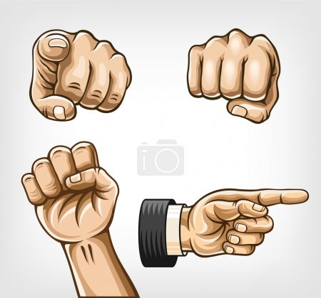 Hands set. Vector illustration