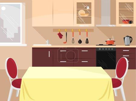 Illustration for Vector kitchen flat illustration - Royalty Free Image