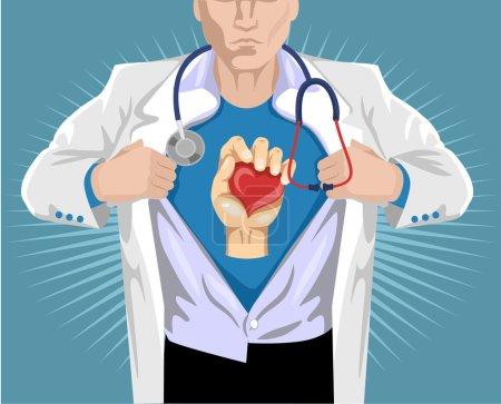 Illustration pour Docteur super-héros. Illustration vectorielle plate - image libre de droit