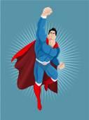Superhero flies Vector cartoon illustration