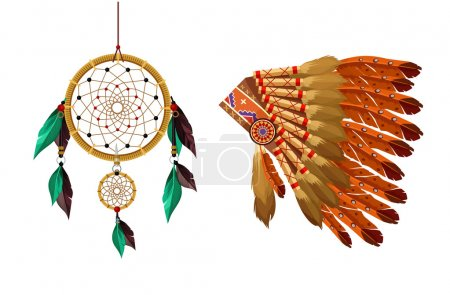 Illustration for Indian items vector flat set - Royalty Free Image