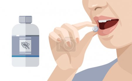Illustration for Woman takes a pill. Vector flat illustration - Royalty Free Image