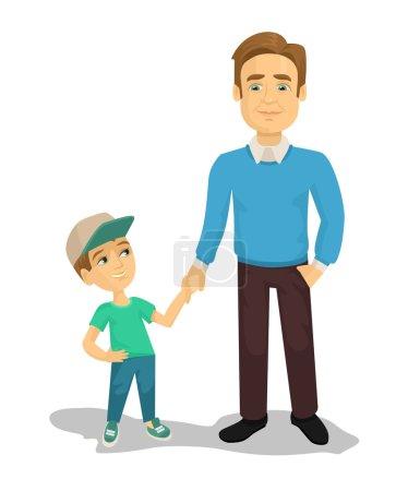 Illustration pour Illustration vectorielle père et fils dessin animé plat - image libre de droit