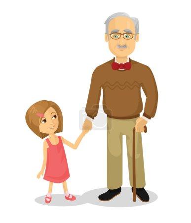Großvater und Enkel. Vektor flache Cartoon-Illustration