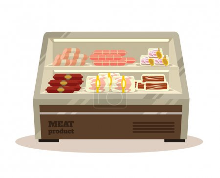 Illustration for Meat counter. Vector flat illustration - Royalty Free Image