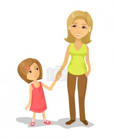 Mom and daughter. Vector flat illustration