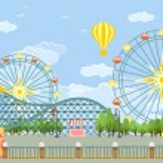 Amusement park. Vector flat illustration...