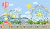 Amusement park Vector flat illustration