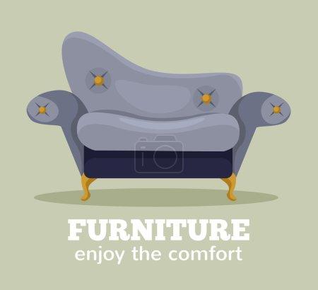 Ilustración de Vector sofa flat cartoon illustration - Imagen libre de derechos