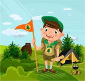 Summer camp with boy Vector flat cartoon illustration