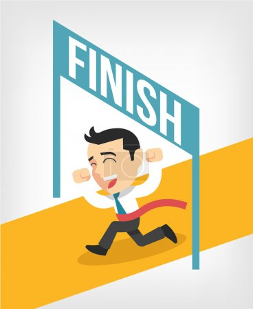Businessman running at the finish line. Vector flat illustration