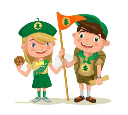 Children scouts. Vector flat illustration