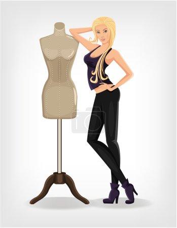Vector fashion designer flat illustration