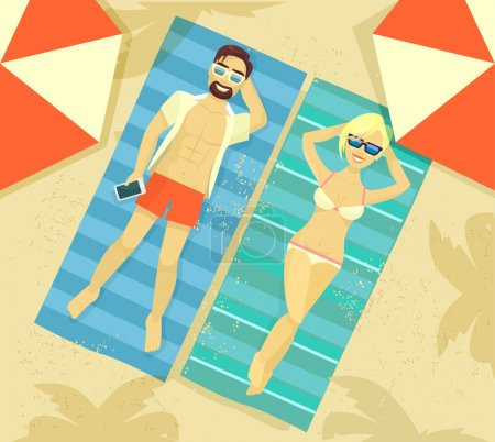 Man and woman sunbathing. Vector flat illustration