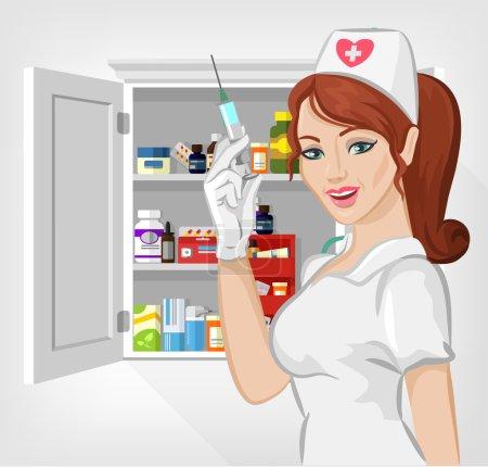 Illustration pour Infirmière vectorielle avec médecine illustration plate - image libre de droit