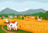 Summer rural landscape with cow. Vector flat illustration
