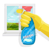 Spray bottle in hand Vector flat illustration