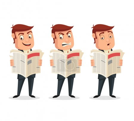 Businessman reading newspaper with different emotions. Vector flat cartoon illustration