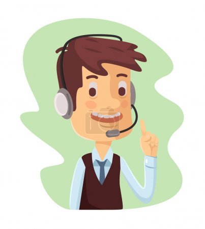Support manager icon. Vector cartoon flat illustration