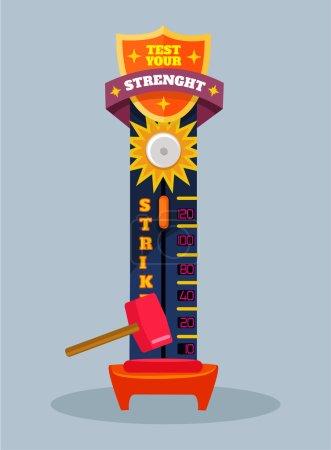 Test your strength. Vector flat cartoon illustration