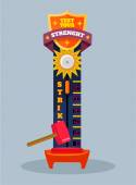 Test your strength. Vector flat cartoon illustration