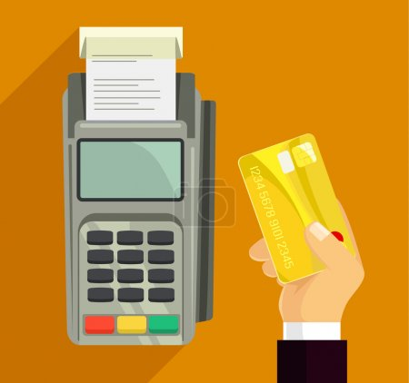 Illustration for Credit card and pos terminal. Vector flat illustration - Royalty Free Image