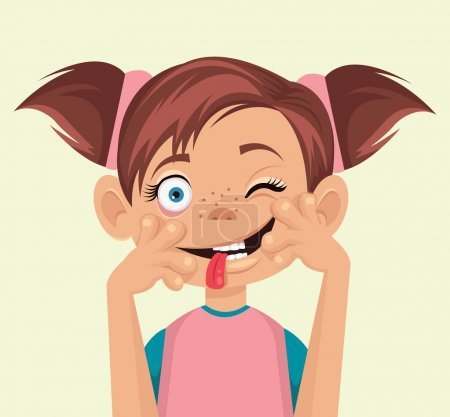 Illustration for Child makes faces. Vector flat illustration - Royalty Free Image