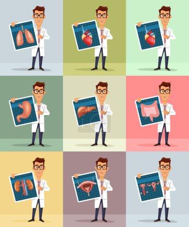 Illustration for Doctor and internal organs. Vector flat illustration - Royalty Free Image