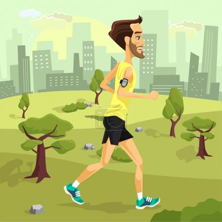 Man runs. Vector flat cartoon illustration